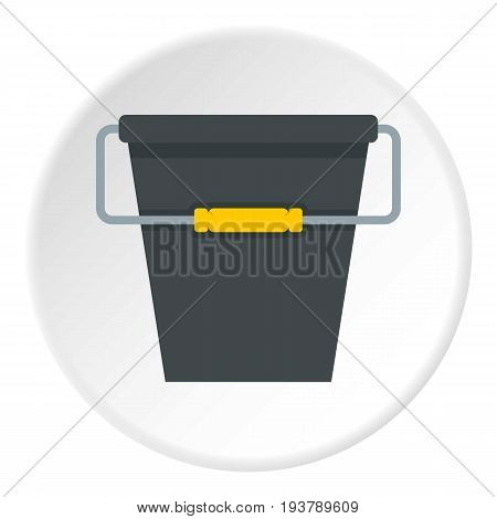 Black bucket icon in flat circle isolated vector illustration for web
