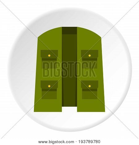 Green hunter vest icon in flat circle isolated vector illustration for web
