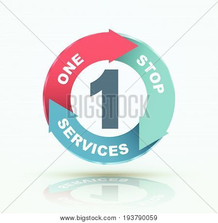 One stop services icon three arrow circle. Vector illustration.