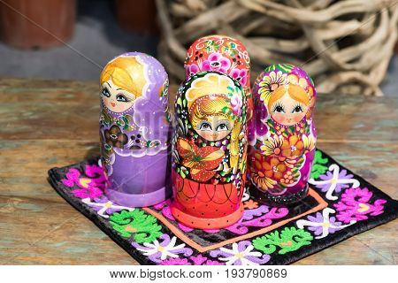 Beautiful Colorful Russian Nesting Dolls Matreshka