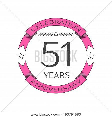 Realistic fifty one years anniversary celebration logo with ring and ribbon on white background. Vector template for your design