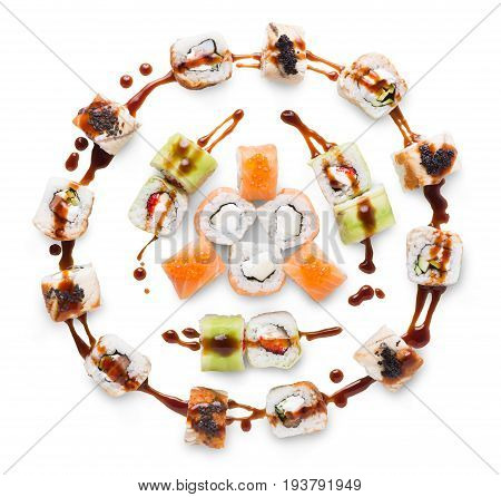 Sushi maki, unagi, california roll big party platter set isolated on white background, top view. Japanese food restaurant delivery