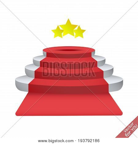 Red Carpet and Stair. 3d stairs vector illustration