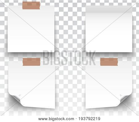 White stickers square. Blank colorful sticky notes set. Sticky reminder notes realistic colored paper sheets office papers with shadow