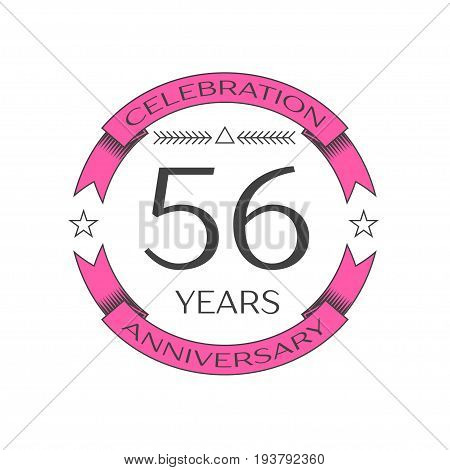 Realistic fifty six years anniversary celebration logo with ring and ribbon on white background. Vector template for your design