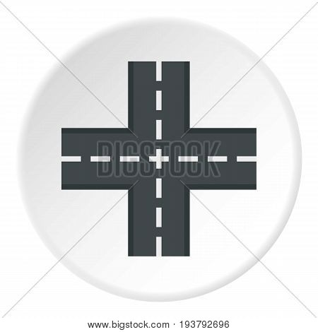 Crossing road icon in flat circle isolated vector illustration for web