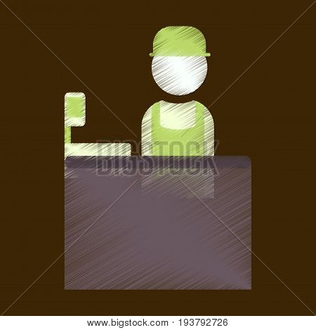 Flat Icon in Shading Style seller of movie tickets
