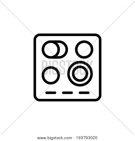 Thin line electric stove icon. Vector illustration isolated on a white background. Simple outline pictogram of electric stove.