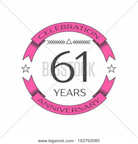 Realistic sixty one years anniversary celebration logo with ring and ribbon on white background. Vector template for your design