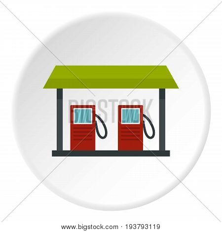 Gas station icon in flat circle isolated vector illustration for web
