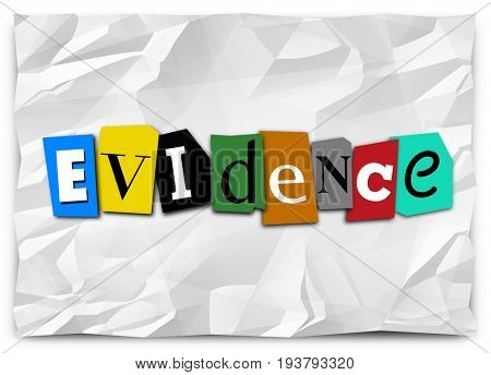 Evidence Proof Proving Guilt Ransom Note 3d Illustration