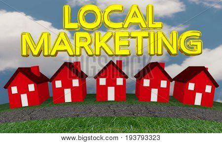 Local Marketing Houses Neighborhood Homes 3d Illustration