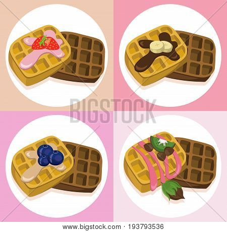 waffle set chocolate syrop and banana and fruits flavor Vector icon template retro style dotted backgrounds