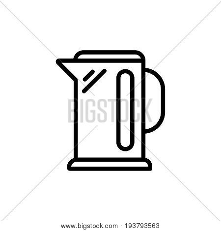 Thin line kettle icon. Vector illustration isolated on a white background. Simple outline pictogram of kettle.