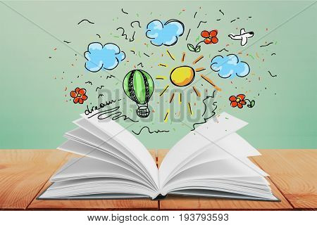 Open drawing book single object copy space note pad background