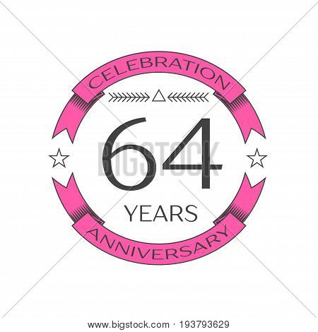 Realistic sixty four years anniversary celebration logo with ring and ribbon on white background. Vector template for your design