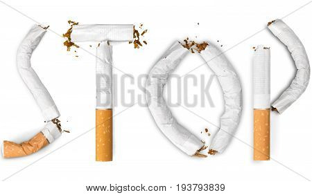 Concept stop stop smoking healthy life anti smoking quit smoking cigarette crushing