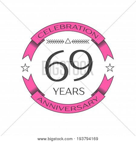 Realistic sixty nine years anniversary celebration logo with ring and ribbon on white background. Vector template for your design