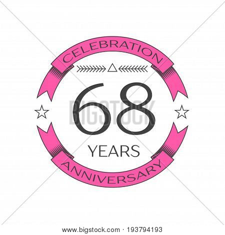 Realistic sixty eight years anniversary celebration logo with ring and ribbon on white background. Vector template for your design
