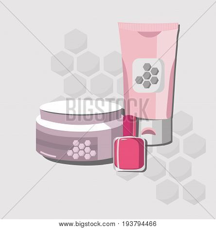 Vector organic Cosmetics set package. Hydration water formula cream and lotion, liquid soap. Perfect for advertising, flyer, banner, poster. Pink color 2d illustration