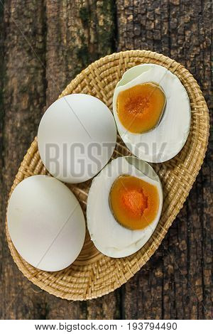 Close up  Salted duck eggs on wood background