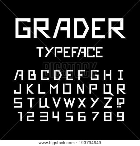 Strong latin font. Vector alphabet with latin letters and numbers.