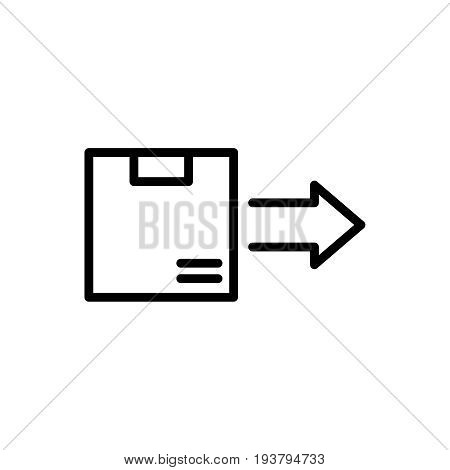 Thin line delivery icon. Vector illustration isolated on a white background. Simple outline pictogram of delivery.