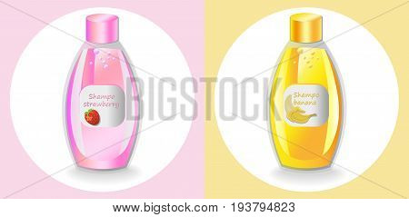 Vector Cosmetics set package. Hydration shampoo fruits fragrance. Perfect for advertising, flyer, banner, poster. Pink yellow color 2d illustrations
