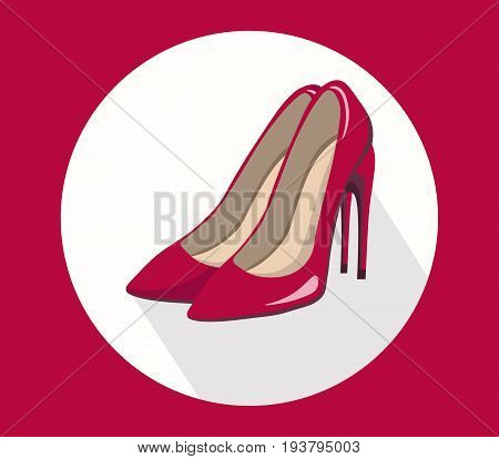 sexy red stiletto shoes for lady vector template icon summer styles