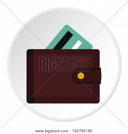 Wallet with credit cards icon in flat circle isolated vector illustration for web