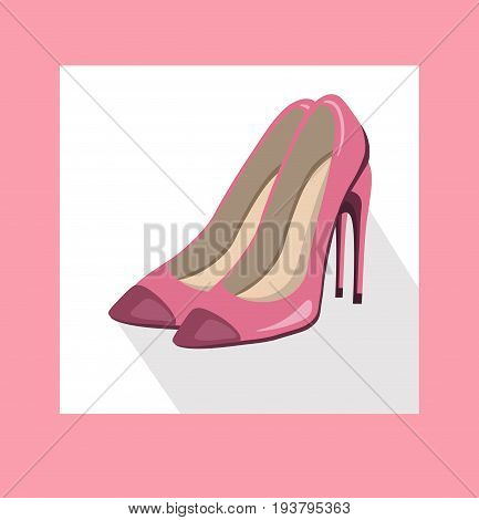 sexy lady shoes pumps vector summer style pink elegance