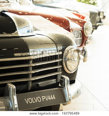 Saint-Petersburg, Russia - February 16, 2017: Swedish manufactury car Volvo PV444 in the Volvo Retro cars museum in Sankt-Petersburg at february 16 2017
