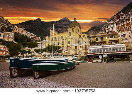 beautiful scenic of positano town most popular traveling destination in southen of italy