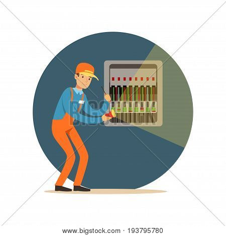 Electrician engineer repairing equipment in fuse box with flashlight, electric man performing electrical works vector Illustration isolated on a white background