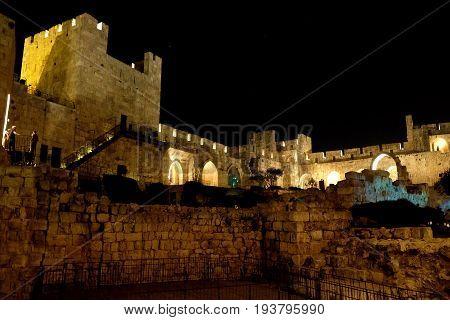 JERUSALEM ISRAEL - JUNE 27 2017: Courtyard of the Citadel in the Old City in Jerusalem