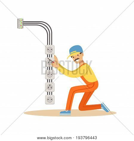 Electrician installing electrical equipment and sockets, electric man performing electrical works vector Illustration isolated on a white background