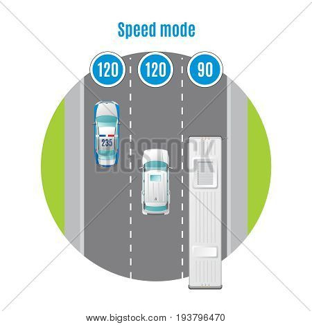Colorful car traffic top view concept with recommended traveling speed for different types of transports vector illustration