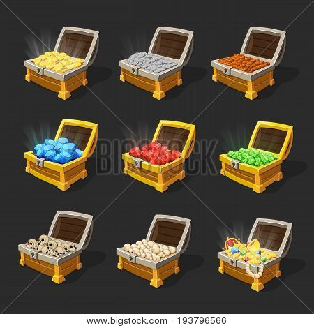 Isometric treasure chests set with coins sapphires rubies emeralds skulls pearls and jewelry isolated vector illustration