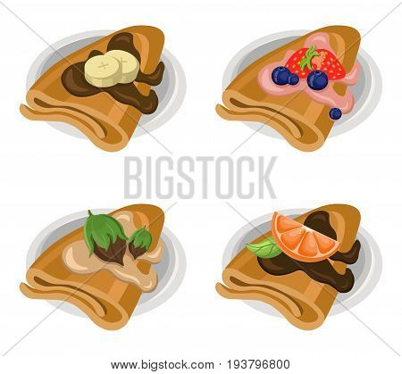 Pancakes set chocolate syrop and banana and fruits flavor Vector icon template retro style dotted backgrounds
