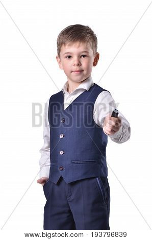 Schoolboy hold usb flash-drive in his hand isolated on white background