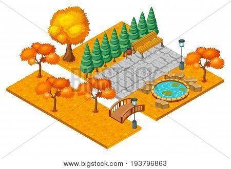 Isometric autumn city park landscape concept with orange trees grass pond bridge and bench vector illustration