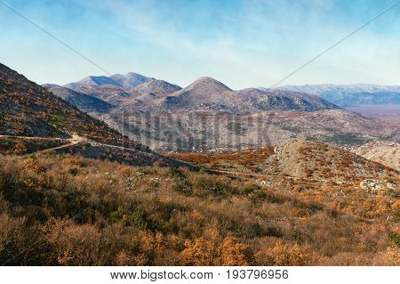 Hills and mountains in autumn colors. Bosnia and Herzegovina