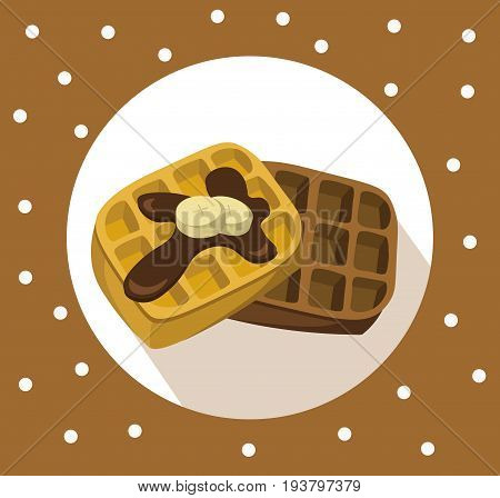 Waffles chocolate breakfast Vector icon flat style