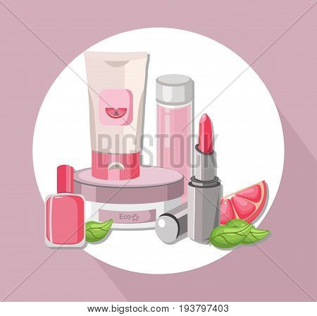 Vector Cosmetics set package. Hydration cream and lotion, shampoo, nail polish, lip balm. Perfect for advertising, flyer, banner, poster. Pink color 2d illustration