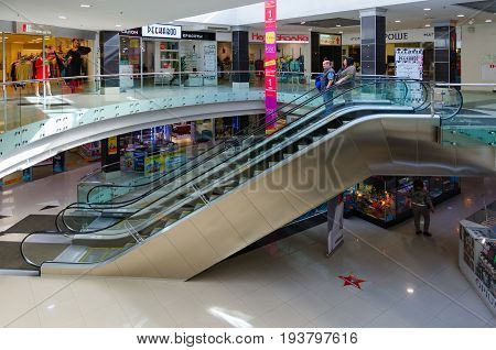 SAINT PETERSBURG RUSSIA - MAY 3 2017: Unknown people visit modern shopping and entertainment complex