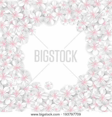 White flowers banner. Wedding paper invitation for background, anniversary marriage, engagement, birthday, Baby shower. Shop header, web banner. For flyer, invite greeting card