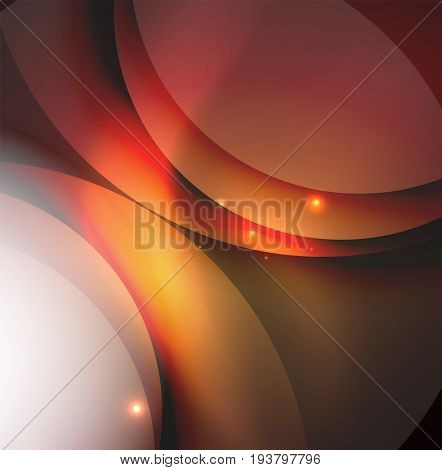 Overlapping circles on glowing abstract background with shining light effects, magic style design template