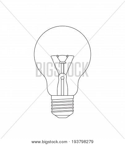 Vector realistic outline light bulb sketch on a white background