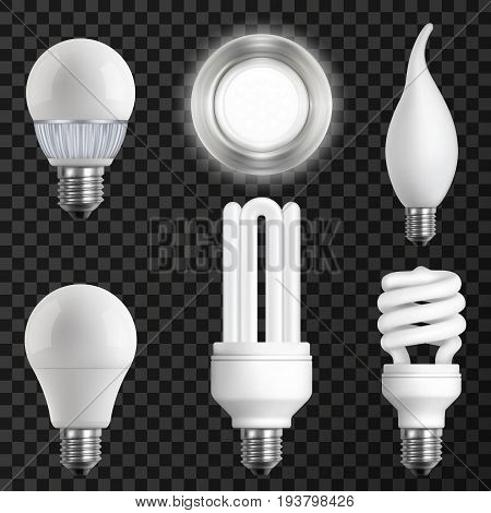 Realistic light bulbs set with led fluorescent halogen and incandescent lamps on transparent background isolated vector illustration