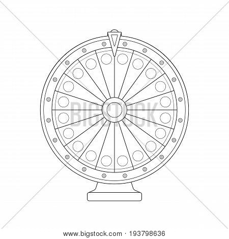Vector realistic outline spinning fortune wheel sketch on a white background